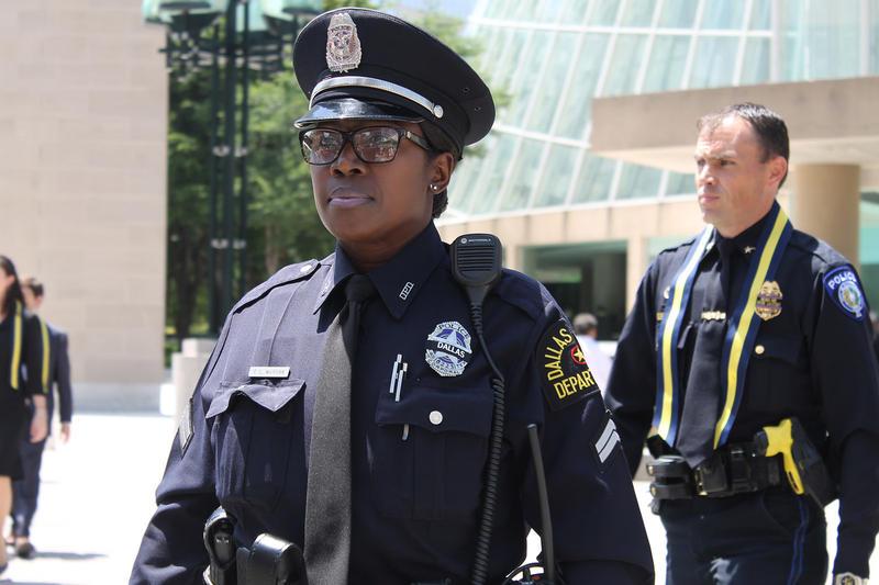 A Dallas police officer outside of the Morton H. Meyerson Symphony Center in Dallas.