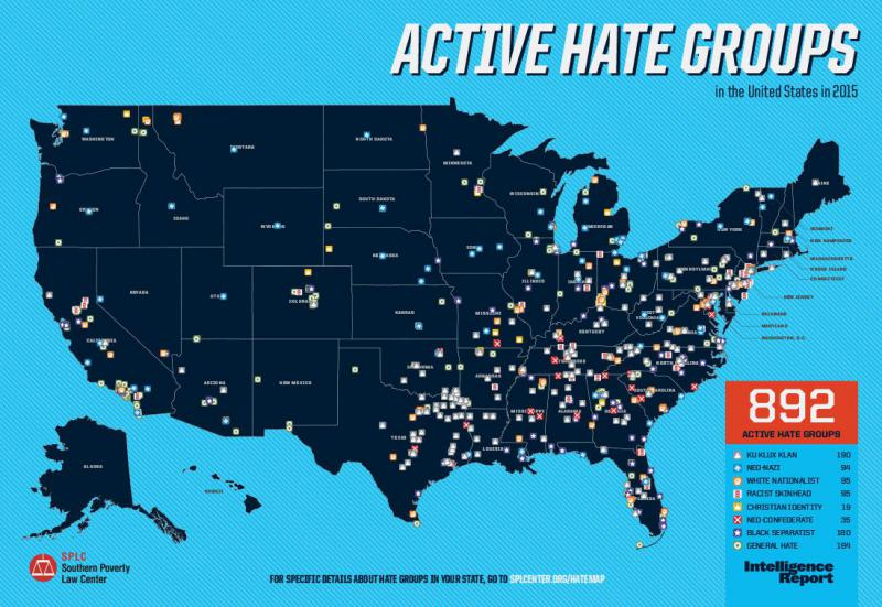 The number of active hate groups rose from 784 in 2014 to 892 in 2015, according to Southern Poverty Law Center.