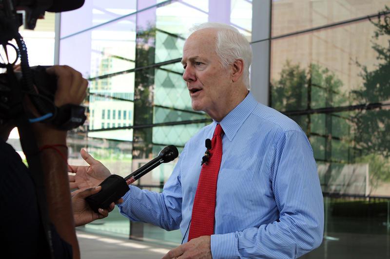 U.S. Sen. John Cornyn spoke to reporters outside of the Meyerson Tuesday.