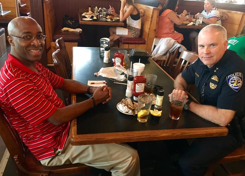 The Rev. James M. Hutchins and Frisco Assistant Chief of Police Darren M. Stevens have been meeting for lunch every month. They talk about how they can improve the relationship between police and minority communities.