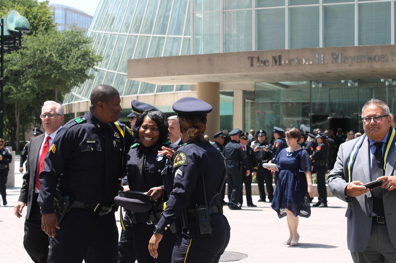 Police officers exited the memorial service Tuesday afternoon.