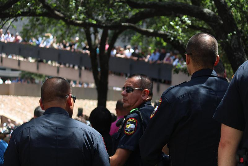 Dallas Police attend the prayer service. Five officers died in the July 7 attacks.