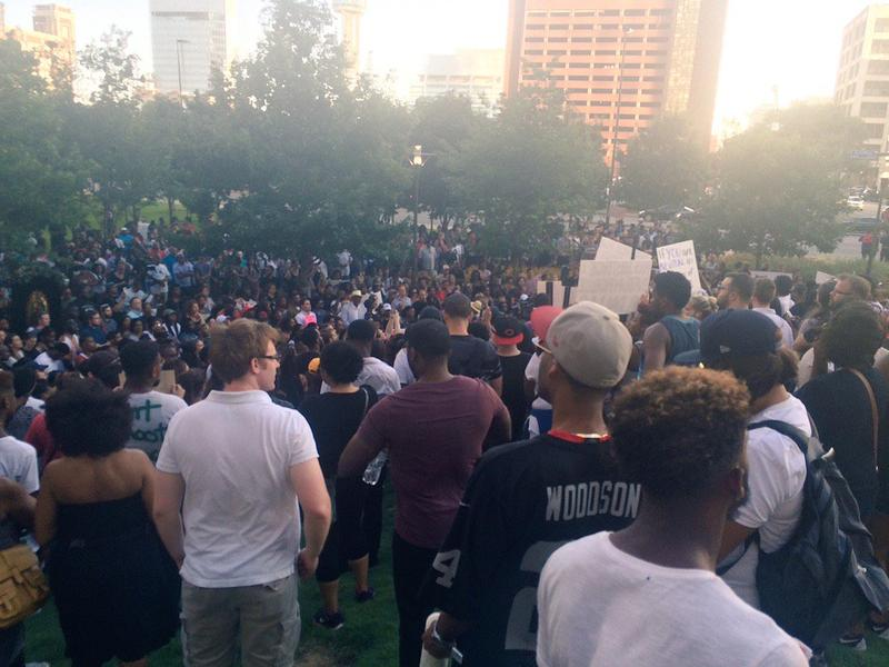 Protestors in downtown Dallas before the shooting.