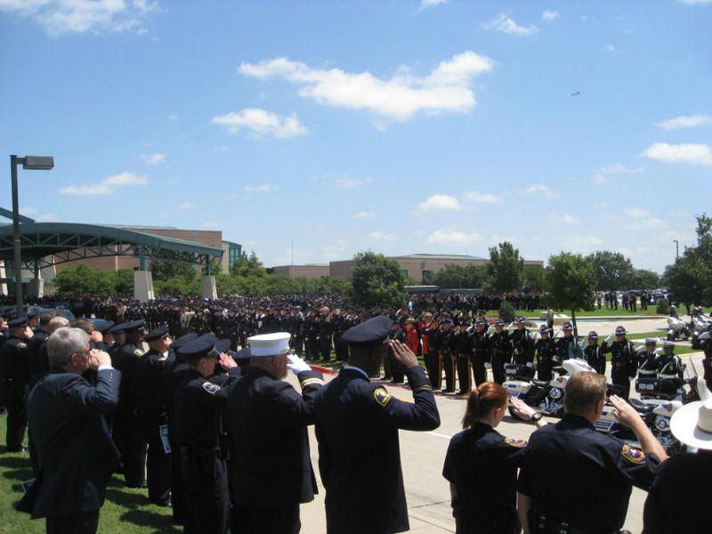 Thousands of officers - from around the state, nation, and even other countries - attended the funeral of Sen. Cpl. Lorne Ahrens in Plano.