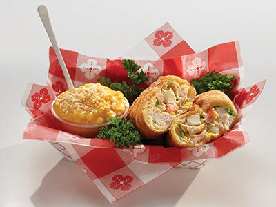 Fernie's Down Home Chicken Pot Pie Pocket with Mac 'n Cheese Dip