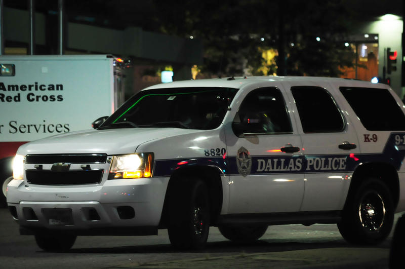 A Dallas police vehicle was in downtown on the night of July 7, following the deadly police shootings.
