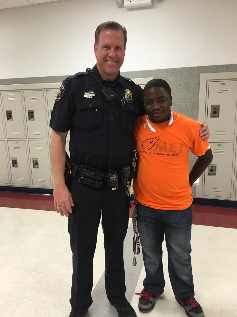 Officer Gregg Anderson works at R. L. Turner High School in Carrollton. This is his second year there and during that time, he's gotten to know students like 18-year-old Jonathan Fuller.