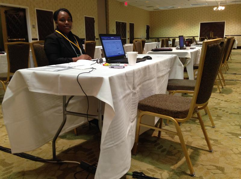 Enrollment Assistor Theresa Wiley with Cognosante working at the Embassy Suites in Dallas in December.