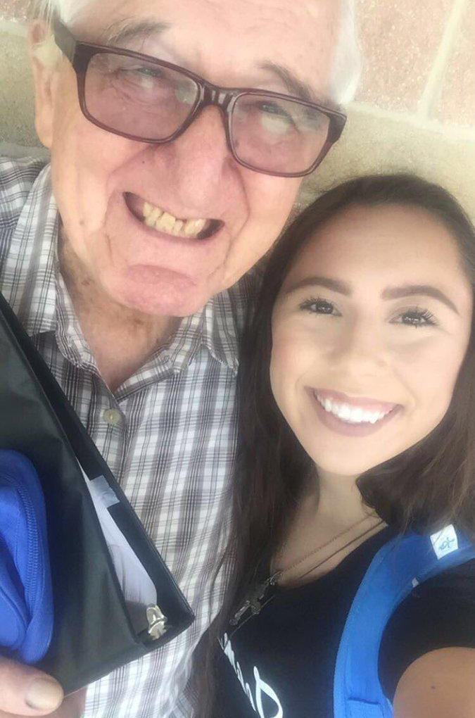 Melanie Salazar, 18, and her grandfather, Rene Neira, 82, spend time together at Palo Alto College in San Antonio, where they both attend this semester.
