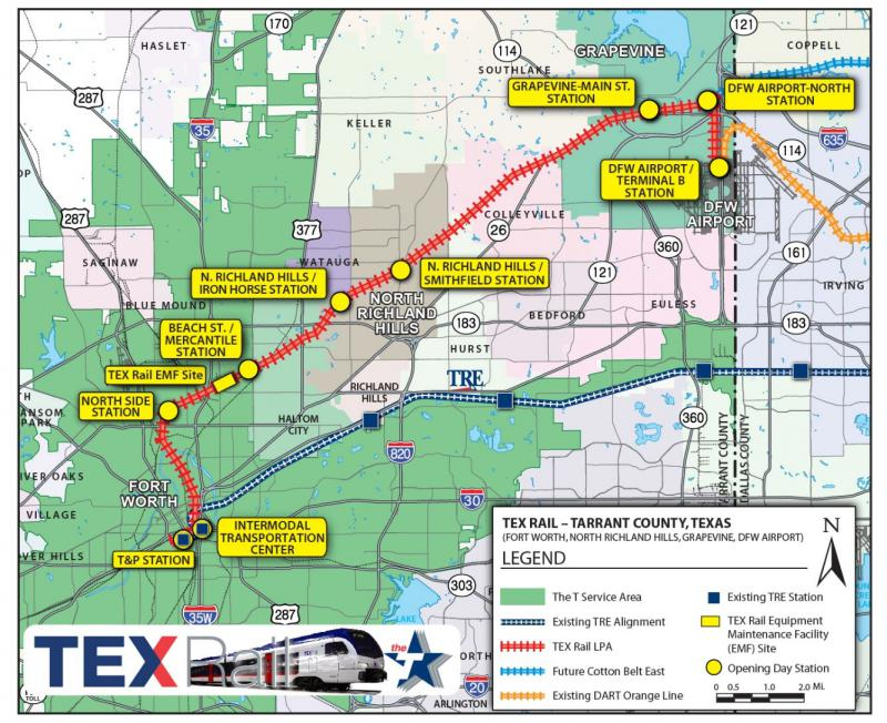 The route for the planned TEX Rail line.