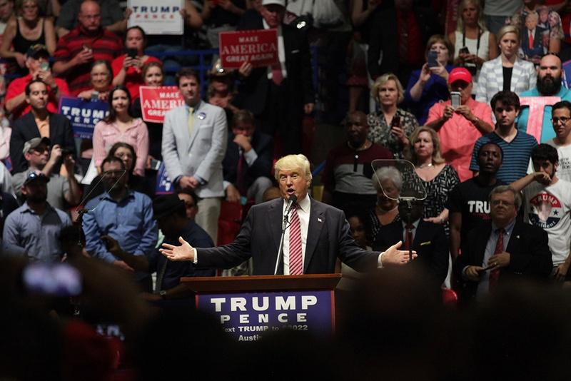 Republican nominee for president Donald Trump speaks at a rally in Austin on Tuesday night.