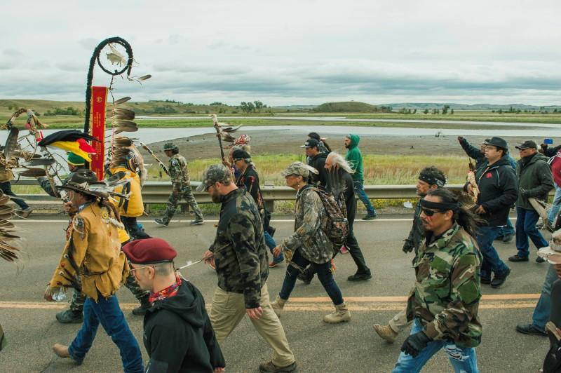 Protesters demonstrate against the Energy Transfer Partners' Dakota Access pipeline near the Standing Rock Sioux reservation in Cannon Ball, North Dakota.