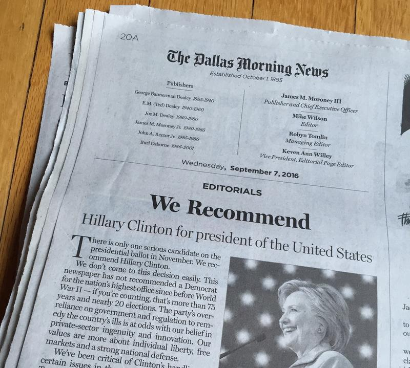 The Dallas Morning News endorsement of Clinton is its first of a Democrat in at least 20 elections.