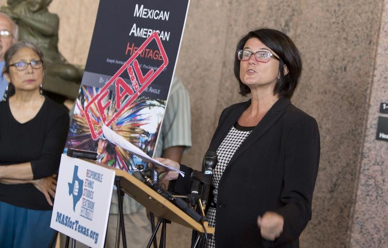 President of the Texas Freedom Network, Kathy Miller, speaks during a press conference on July 18, 2016. Groups are calling on the Texas SBOE to reject a proposed Mexican-American studies textbook which contains factual errors.