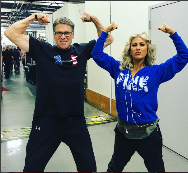 "Former Gov. Rick Perry and his ""Dancing With The Stars"" partner, Emma Slater before the opening night."