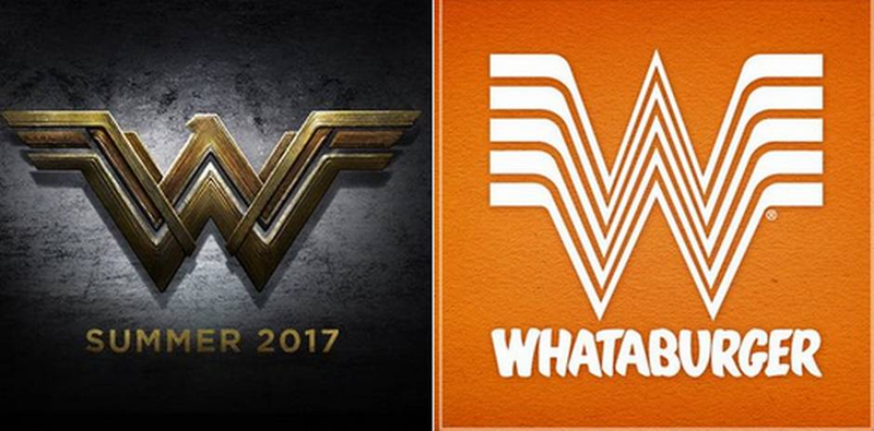 The logos for the new Wonder Woman film (left) and Whataburger (right), a Texas-based burger chain.