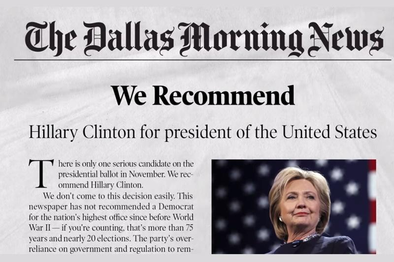 A screenshot of an ad Hillary Clinton's presidential campaign plans to air in Texas.