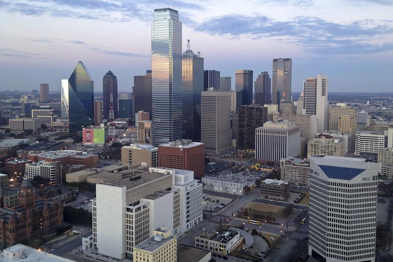The downtown skyline in Dallas, Texas.