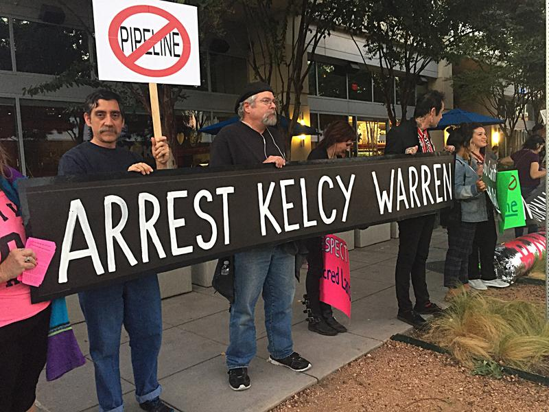 In October, dozens of demonstrators gathered across the street from Klyde Warren Park — named after CEO Kelcey Warren's son — to protest the Dakota Access Pipeline.