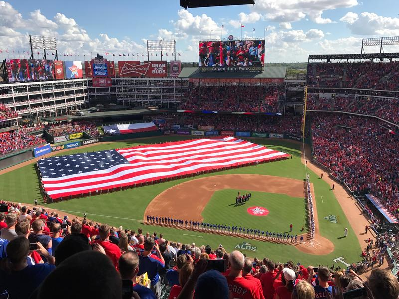 The scene at Globe Life Ballpark in Arlington between the Toronto Blue Jays vs. Texas Rangers.
