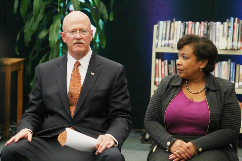 U.S. Attorney General Loretta Lynch and U.S. Attorney John Parker at Sunset High School in Dallas.