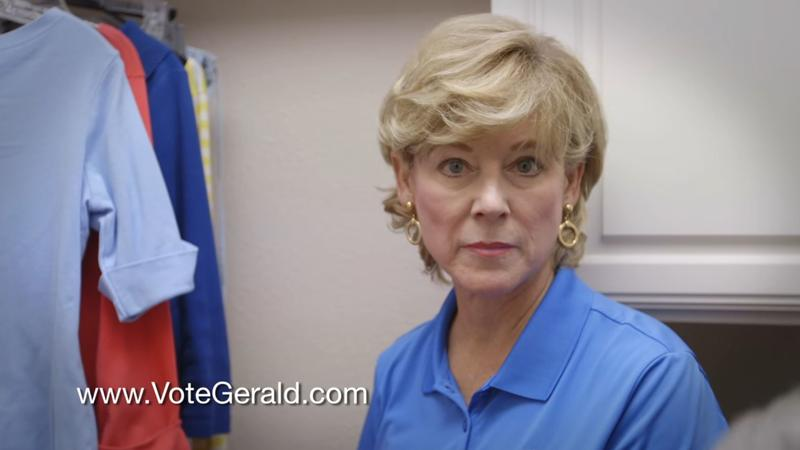 Charlyn Daughtery, wife of Travis County Commissioner Gerald Daughtery, in an ad for her husband's re-election campaign.