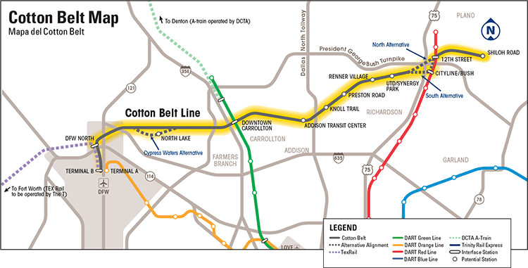 The proposed route for DART's Cotton Belt rail line. It will connect several suburbs to DFW Airport.