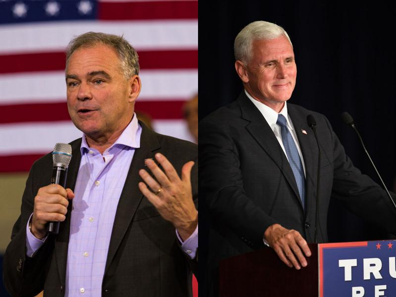 Tim Kaine, left, Democratic vice presidential nominee, and Mike Pence, right, Republican vice presidential nominee.