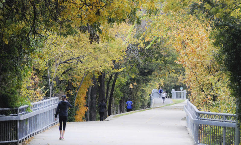 Walking or running on the Katy Trail is a winter-friendly activity in Dallas.