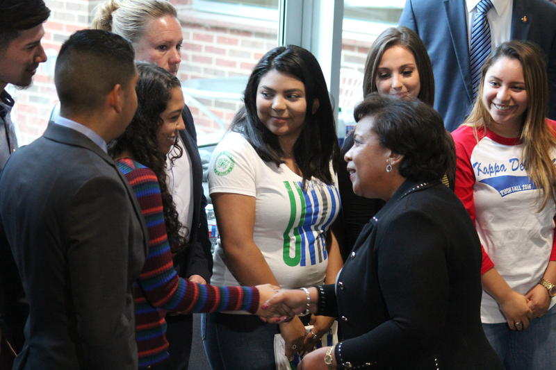 U.S. Attorney General Loretta Lynch shakes hands with students at UNT Dallas