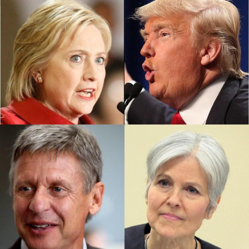 Clockwise from the upper left are presidential candidates: Democrat Hillary Clinton, Republican Donald Trump, Green Party Jill Stein and Libertarian Gary Johnson.