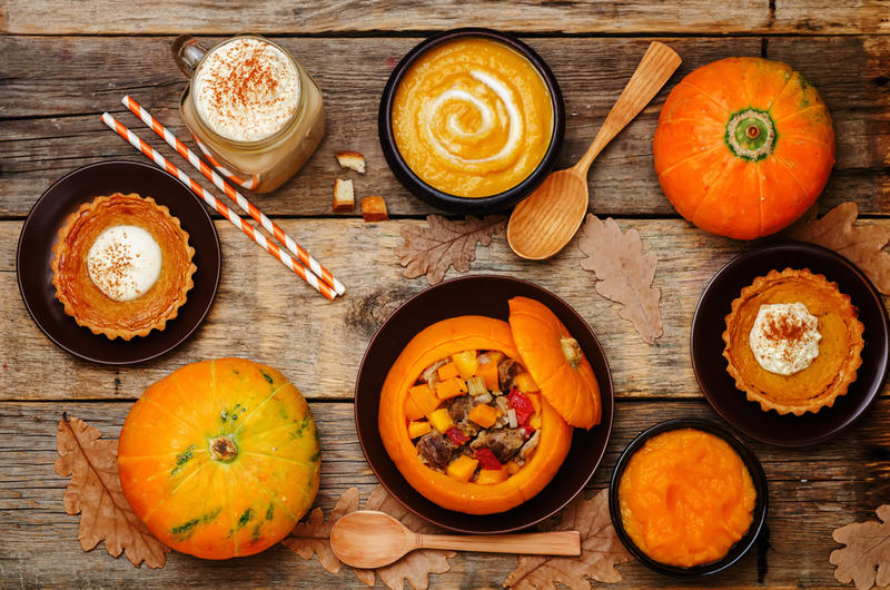 Pumpkin latte, Pumpkin stuffed w/meat & vegetables, Pumpkin tartlet, Pumpkin soup and Pumpkin puree