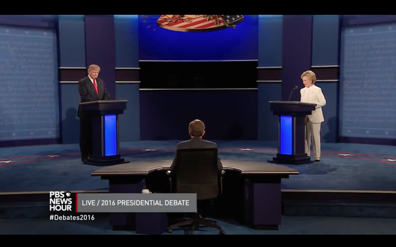 Republican presidential nominee Donald Trump and Democratic presidential nominee Hillary Clinton at the third and final debate.