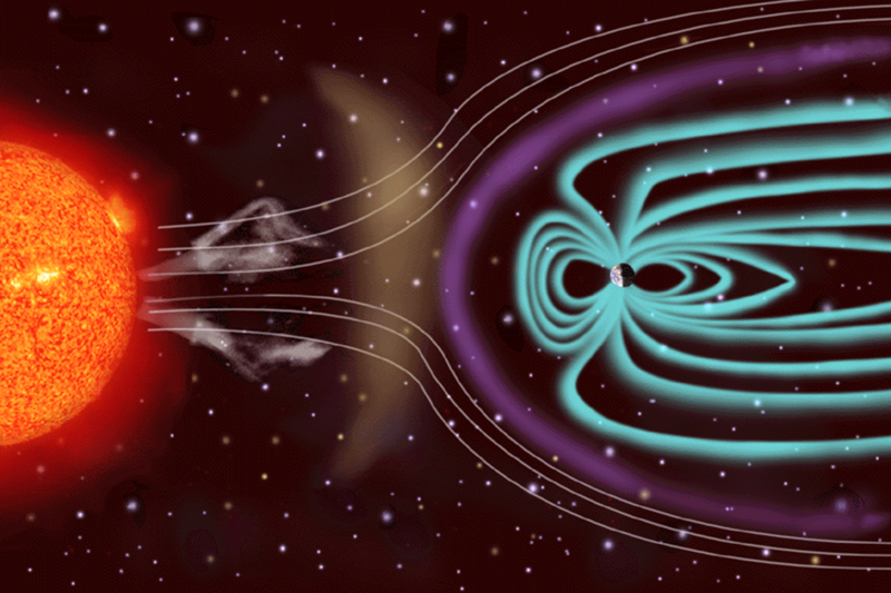 An artist rendering of solar winds blowing toward the atmosphere. The magnetosphere, in blue, protects Earth from the sun's harmful particles, but not its satellites.