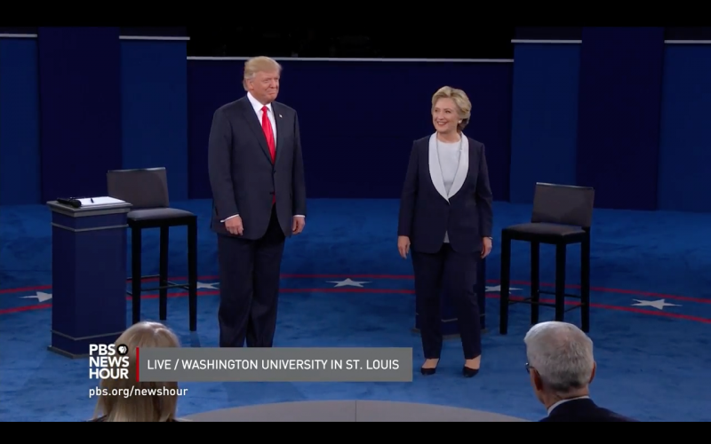 Republican Donald Trump and Democrat Hillary Clinton at the second presidential debate in St. Louis.