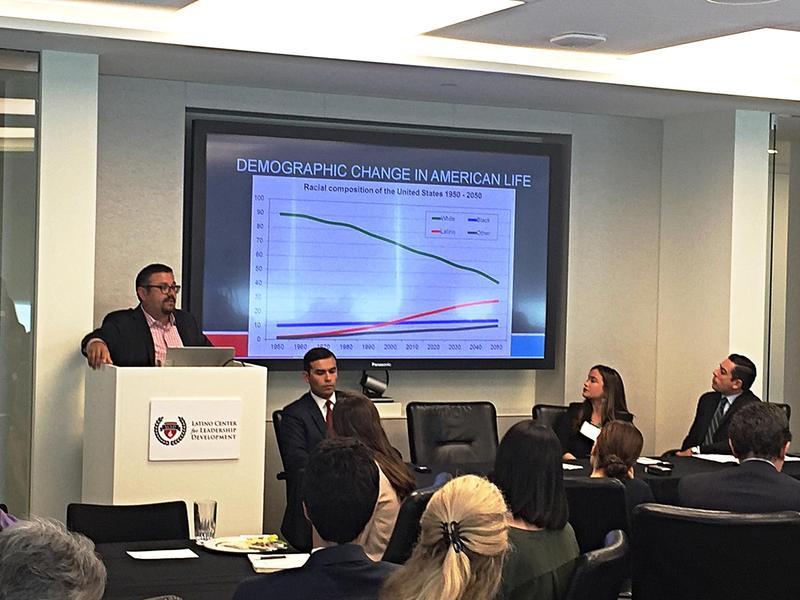 Matt Barreto speaks at a Latino Center for Leadership Development October policy forum in Dallas.