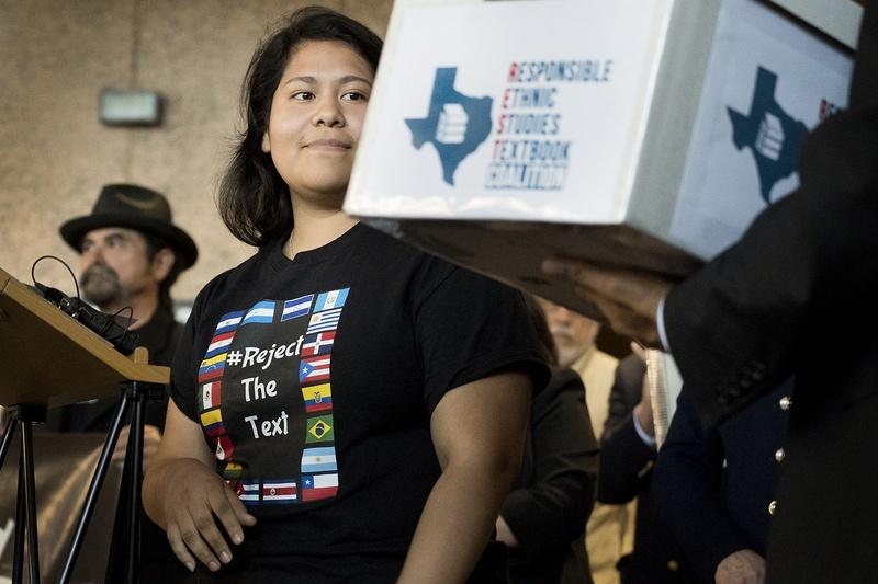 Carolina Hernandez, a student in the Houston ISD, spoke during a news conference at the Texas Education Agency on Nov. 15, 2016, about a proposed Mexican-American studies textbook that educators and activists have criticized.