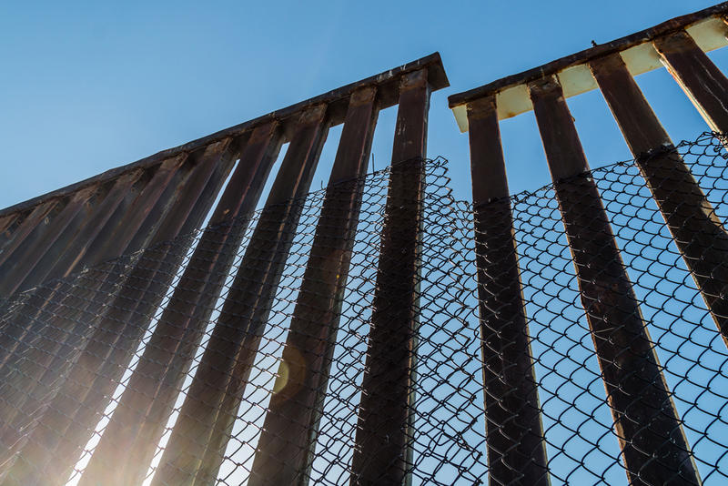 A section of the border fence separating San Diego, California and Tijuana, Mexico.