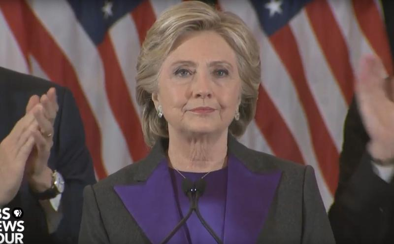 Hillary Clinton gives her concession speech.