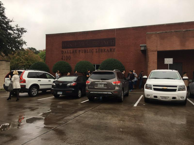 Lines run out the door at the Oak lawn Branch library in Dallas.