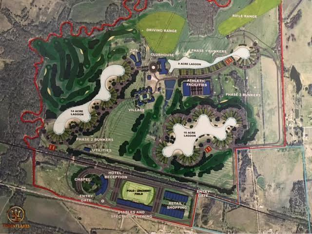 A rendering of Trident Lakes, the luxury housing community underway in Ector, Texas.