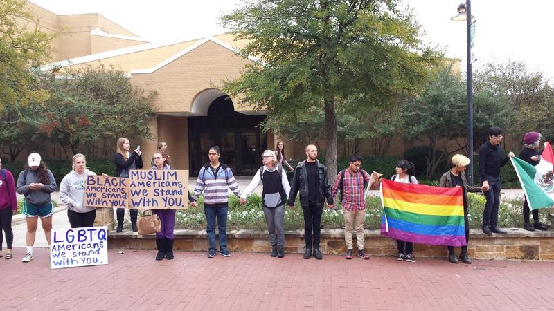 Students in the University of North Texas library mall at a demonstration on Nov. 9. Students will gather here again today for a walkout, according to instructions in a university petition.