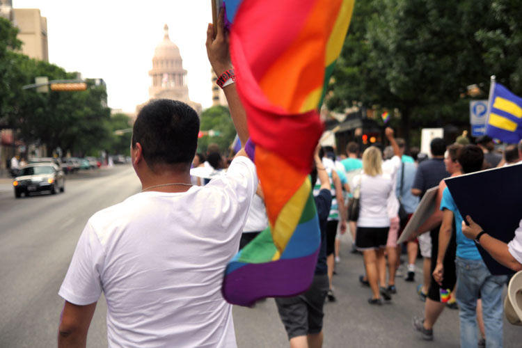 Gay rights activists march on Harvey Milk Day to commemorate the civil rights leader and protest anti-gay policies in Texas in 2011.