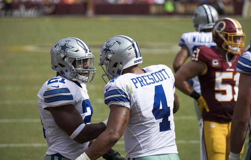 Ezekiel Elliott and Dak Prescott celebrate a touchdown against Washington.