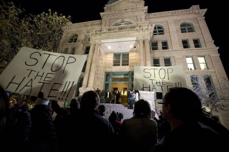 A crowd gathered to protest against the Fort Worth police at the Tarrant County Courthouse on Thursday.