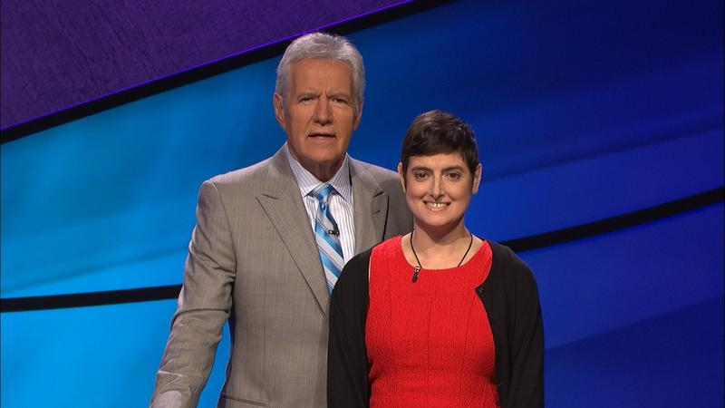 Jeopardy host Alex Trebek and contestant Cindy Stowell, 41, a science content developer from Austin.