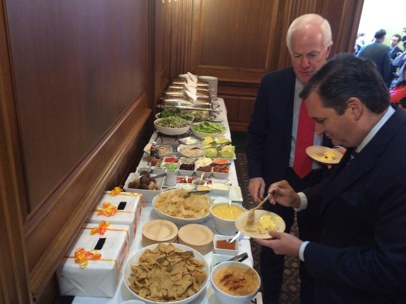 "Sen. Ted Cruz posted this photo on Twitter Wednesday with the caption, ""May the best queso win."""