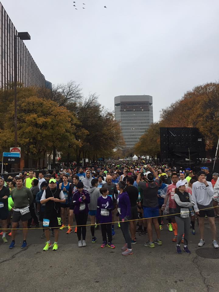 Runners at the Dallas Marathon on Sunday morning.