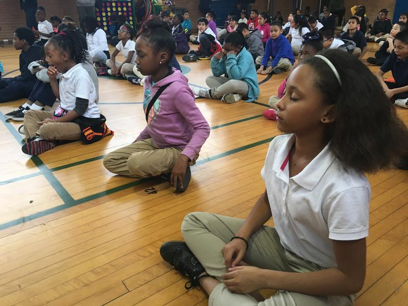 Students at Joseph J. Rhoads Learning Center in Dallas are learning how to practice mindfulness meditation.
