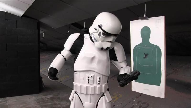 A stormtrooper misfires at target practice with a Fort Worth police officer.